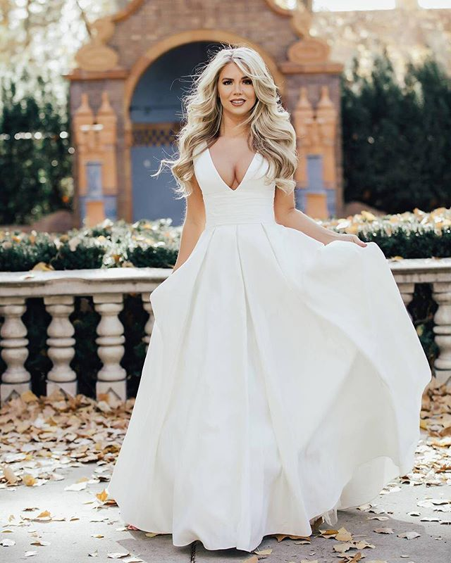 490f5cb472a8a  tealeshawn is simply breathtaking in this satin ball gown from our   DavidsBridal collection 💗 Book your dress shopping appointment by  following the link ...