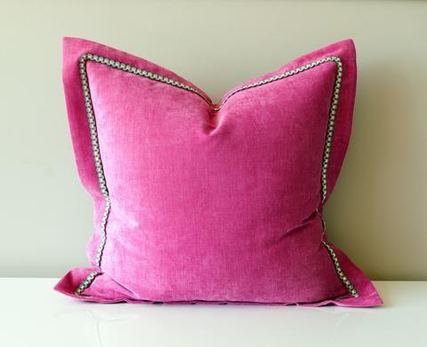 Pink Pillow   Velvet Throw Pillow   Hot Pink Throw Pillow   Flange Pillow  With Trim
