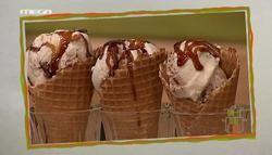 Παγωτό semifreddo με σοκολάτα γάλακτος, καραμέλα και φιστίκια