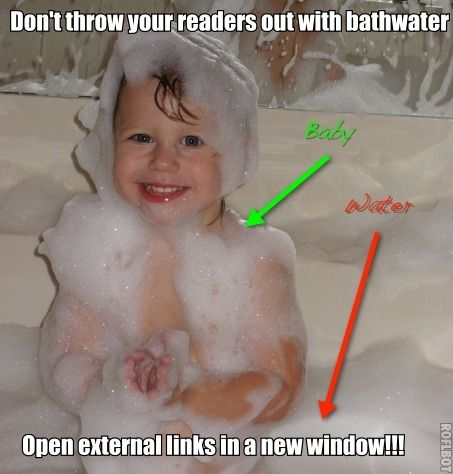"""TRAFFIC TIP OF THE DAY: open all your external links in a new window and keep your readers right where they belong - on your blog. (add target=""""_blank"""" to all your external links)"""
