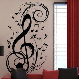 Music Note Pattern Graffiti Wall Decor Mural Decal Sticker PVC Wallsticker New