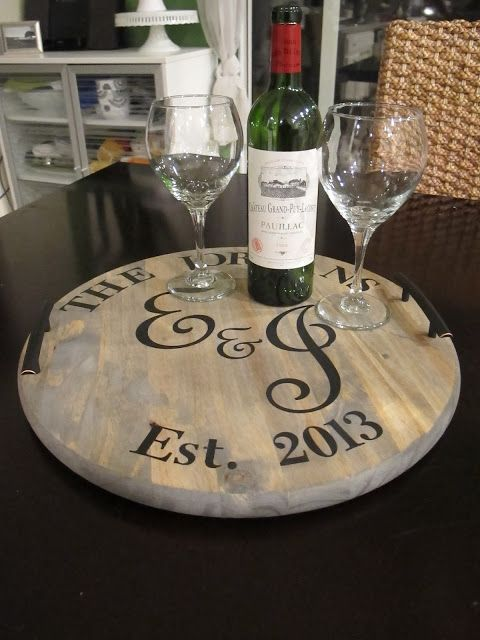 Wine Barrel Tray {DIY} - made with HAPPY