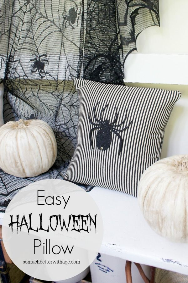Easy Halloween Pillow (from upcycled dress) somuchbetterwithage.com #halloween #pillow #upcycled