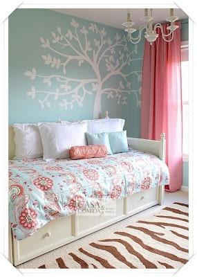 Azul para meninas. Decoração de quartos. ~ Casa Comida e Roupa de Marca.