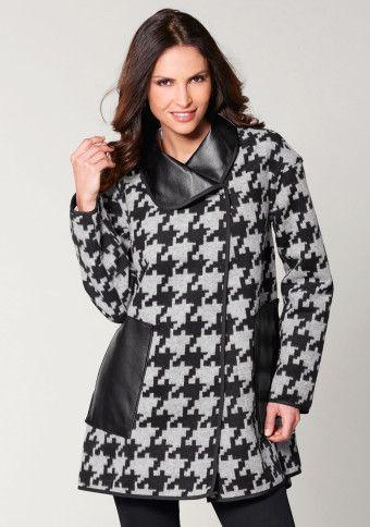 Obojstranný kabát s detailmi koženky #Modinosk #dogtooth