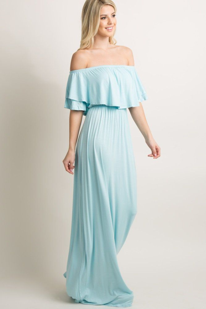 9a4a2120161c6 An off shoulder maxi dress featuring a solid hue, cinched elastic neckline  and waistline, a cute ruffle trim, and short bell sleeves.