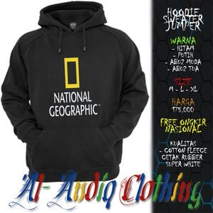 hoodie sweater jumper national geographic 1 print rubber 1 sisi abu-abu / putih / hitam