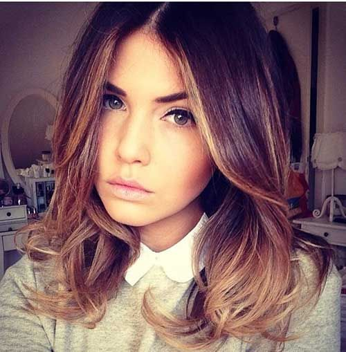 Shoulder Length Brown to Blonde Ombre Hair Color