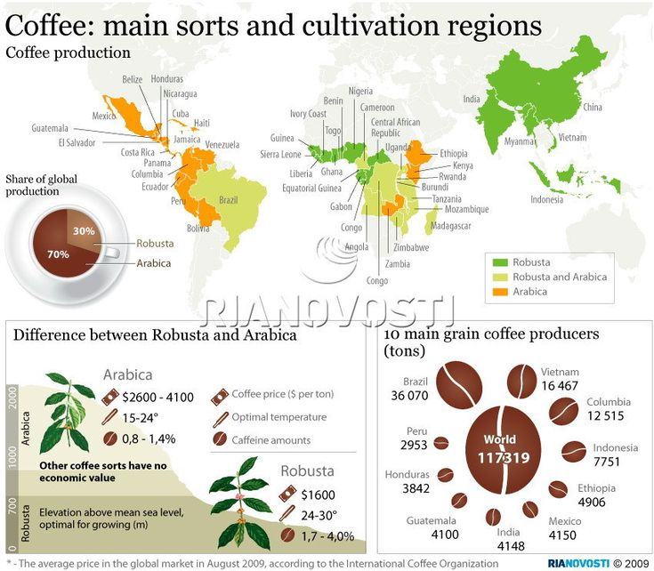 Coffee: Main sorts and cultivation regions