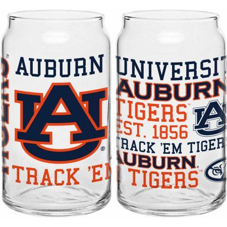 Boelter Brands Ncaa Set of Two 16 Ounce Spirit Glass Can Set, Auburn University Tigers, Clear