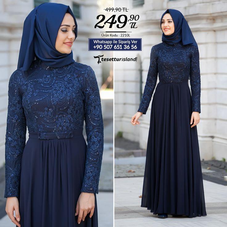 Tesettürlü Abiye Elbiseler - Hakim Yaka Lacivert Abiye Elbise #tesettur #tesetturabiye #tesetturelbise #tesetturgiyim