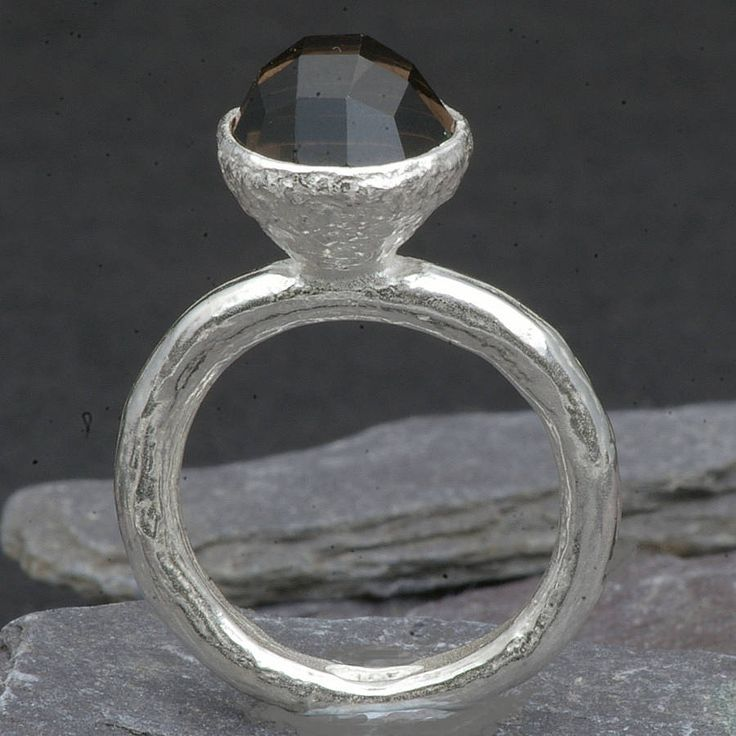 Anthony Blakeney Silver Gem Set Ring With Smoky Quartz