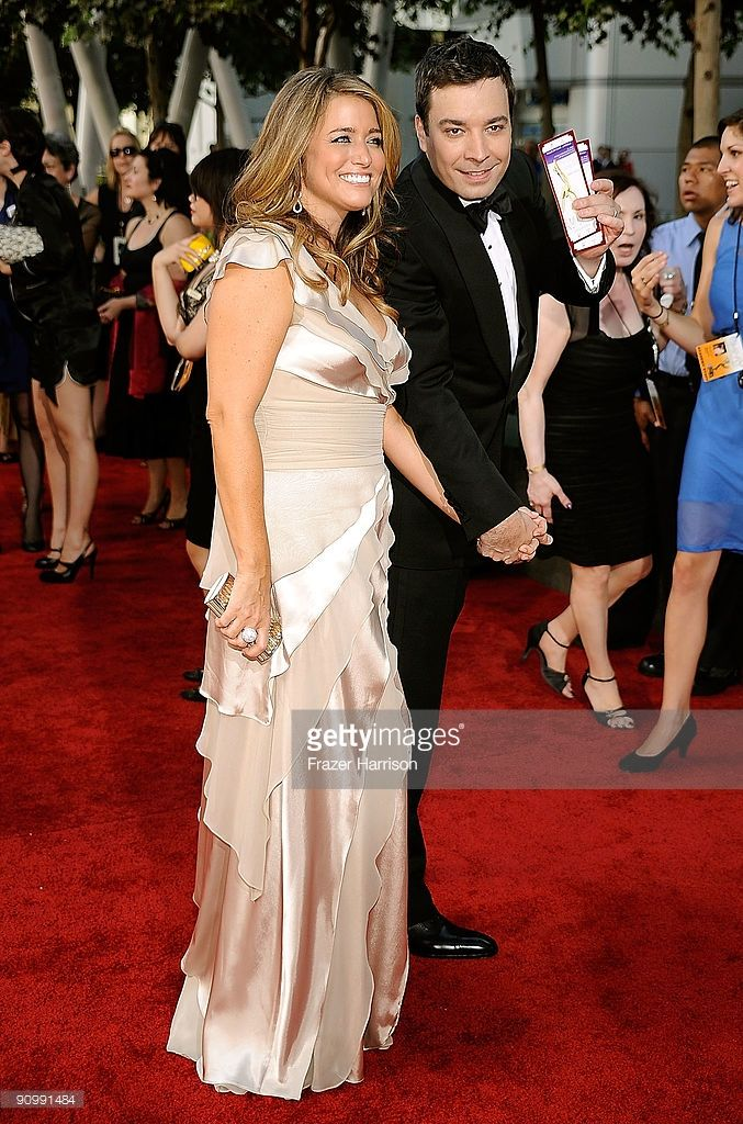TV personality Jimmy Fallon (R) and producer Nancy Juvonen arrive at the 61st Primetime Emmy Awards held at the Nokia Theatre on September 20, 2009 in Los Angeles, California.