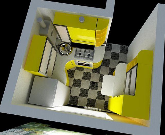 Эргономичный дизайн маленькой кухни в хрущевке. Small kitchen - interior design idea