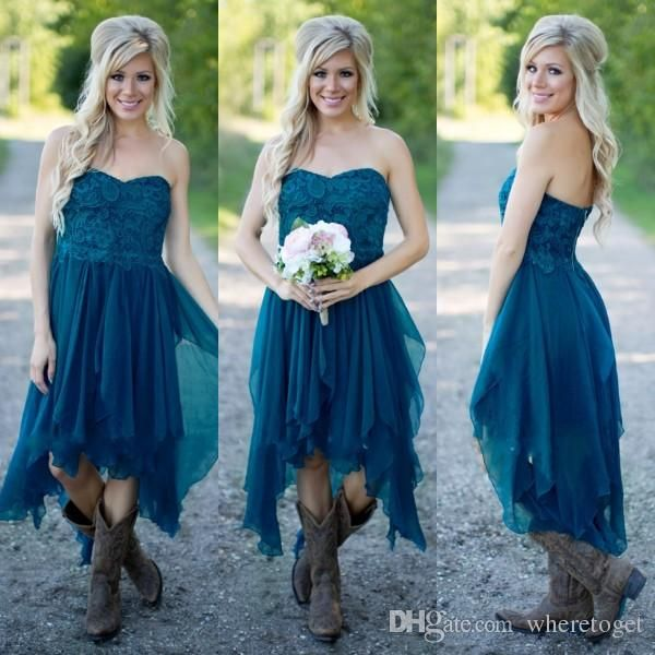 Country Bridesmaid Dresses 2016 Short Hot Cheap For Wedding Teal Chiffon Beach Lace High Low Ruffles Party Maid Honor Gowns Under 100 Bridesmaid Dresses Gold Bridesmaid Dresses High Street From Wheretoget, $75.38| Dhgate.Com