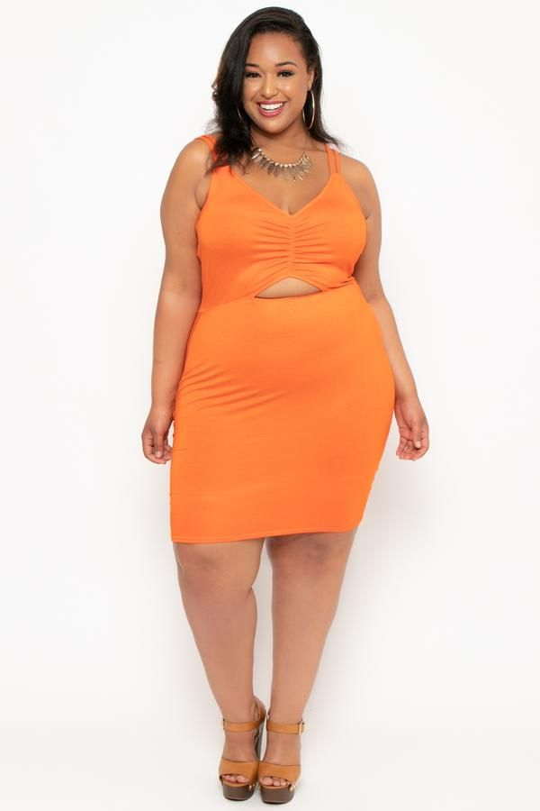 Plus Size Ruched Cut Out Dress - Orange in 2019 | Adore We | Dresses ...