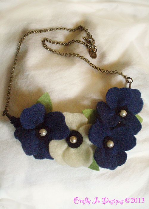 Navy and cream necklace. One from my ever growing felt flower jewellery range at Crafty Jo Designs