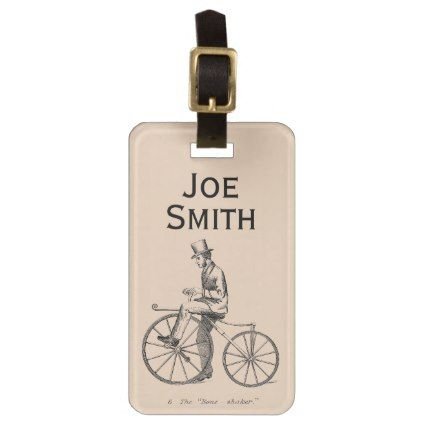 Vintage/Victorian Cyclist Personalised Luggage Tag - travel luggage tags personalize customize your name diy