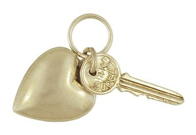 Key to Your Heart Moveable Charm in 14K Gold | Love and Success Movable Vintage Heart Charm - Item C750