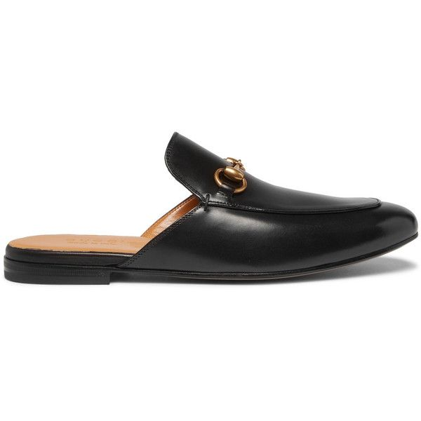 Gucci Horsebit Leather Backless Loafers ($595) ❤ liked on Polyvore featuring men's fashion, men's shoes, men's loafers, mens backless shoes, mens leather shoes, mens leather loafer shoes, gucci mens shoes and mens black shoes