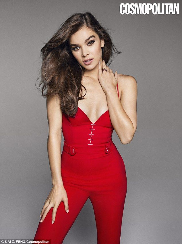 Red hot right now: Hailee Seinfeld wore a jumpsuit for Cosmopolitan to talk about her first kiss at age 11 while promoting the film Pitch Perfect 3