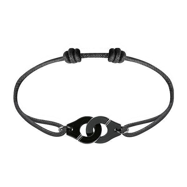 dinh van Menottes dinh van R12 Cord Bracelet (Black Sterling Silver) (1.400 BRL) ❤ liked on Polyvore featuring jewelry, bracelets, dinh van jewelry, sterling silver friendship bracelet, dinh van, handcuff jewelry and cord bracelet