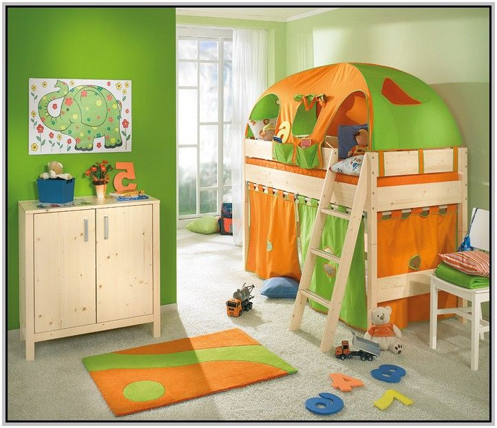 colorful bunk bed in green and orange with stairs and playground unique bunk beds for kids bedroom design ideas in bedroom category - Kids Bedroom Sets Under 500