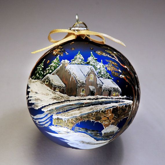 Hand painted christmas bauble glass ornament by