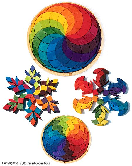 Rainbow Swirl Giant Wooden Block Puzzle, Germany....Would love to make this for all the kids.