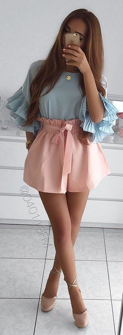 #winter #outfits blue and pink elbow-sleeved mini dress