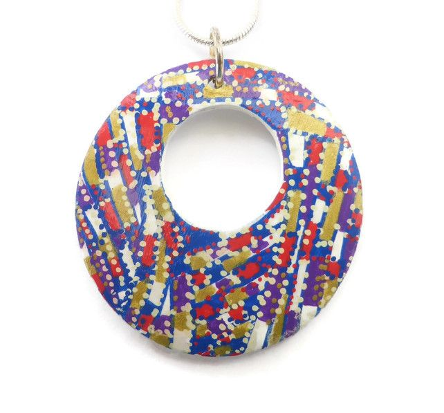 Hand Painted Round Wooden Pendant Necklace, Unique Jewellery £20.00