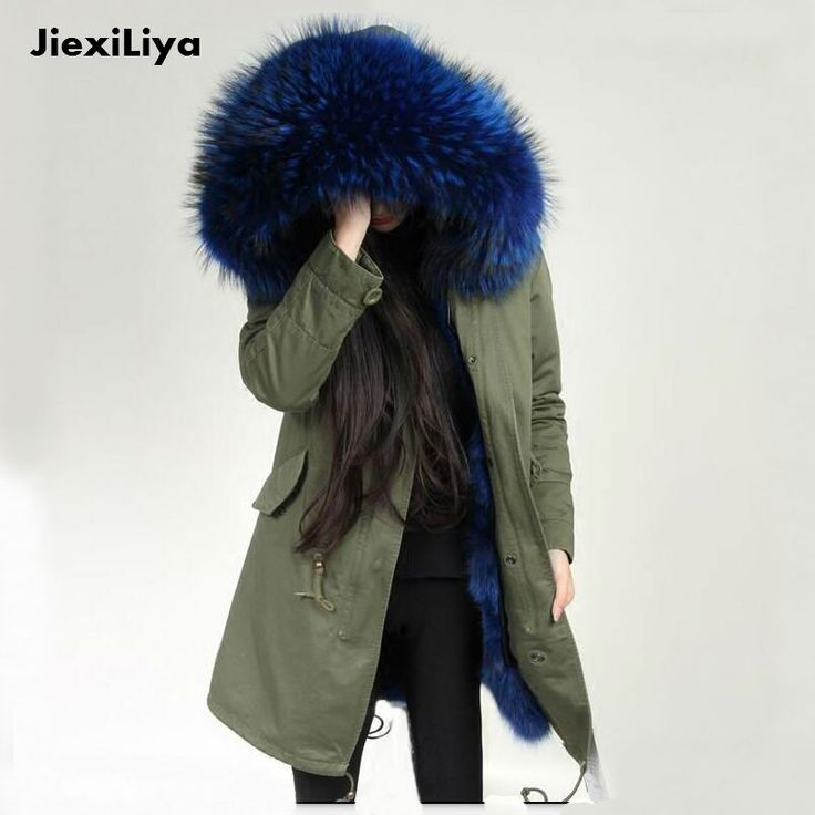2016 Gerçek Kürk Parkaları Kadın Kış Ordu Yeşil Büyük Rakun Kürk Yaka Kapşonlu Uzun ceket Fox Kürk Liner Ceket için en kaliteli