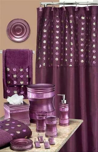 Purple bathroom accessories.