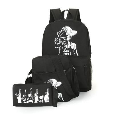 3Pcs/Sets Womens Man Luminous Black Backpacks Canvas School Book Bags Computer Backpack women student bag Large capacity mochila