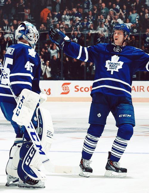 Jonathan Bernier and Peter Holland, Toronto Maple Leafs (Source: withglowinghearts-.tumblr.com)
