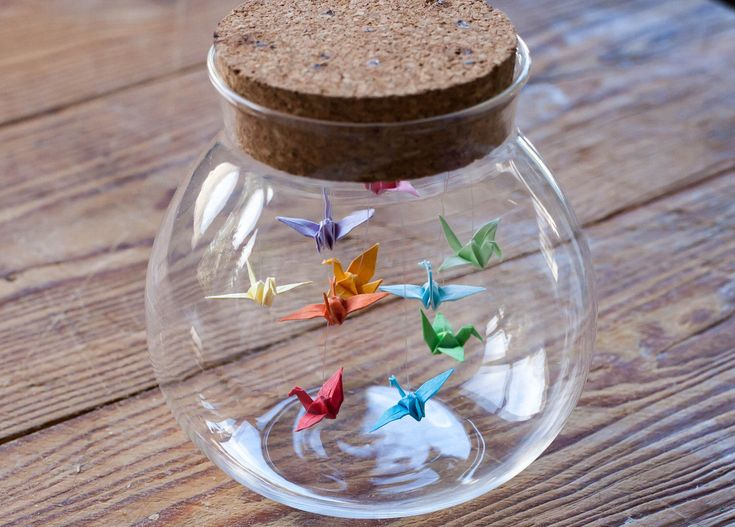 Origami Birds in a Bottle / Jar Origami Crane in Glass Bottle – Gift for Her – Wedding Favour – Origami Bird – Small Paper Bird Peace Crane