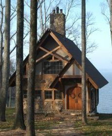 Storybook cottage with double doors.
