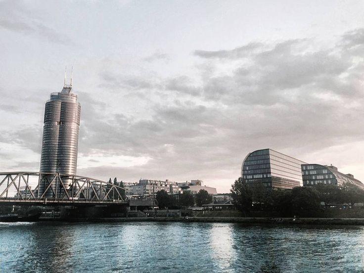 "114 Likes, 3 Comments - Gabriella Buzas (@epicstreetstyle) on Instagram: ""Glimpses of urban sleek ▶ . ."" modern minimal architecture skyscraper industrial style buildings river view boattrip cruise vienna austria travel mytinyatlas"