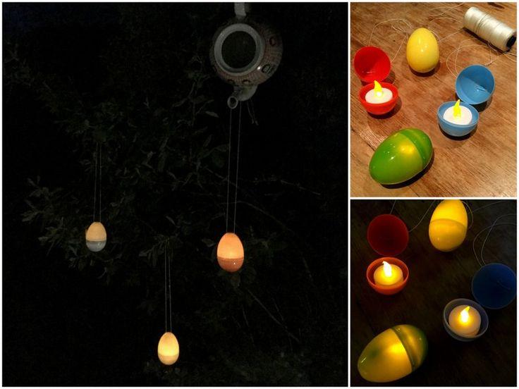 Plastic paasei wordt met een led theelichtje erin een.....glow in the dark egg!  Neem een plastic ei en rijg er bovenin een touwtje door (gaatjes zitten hier al in). Plaats er een led theelichtje in, zet de batterij aan en hang ze op in de tuin of binnen!⠀ Ook leuk voor op je paastafel, maar je kunt ze natuurlijk ook met iets lekkers vullen. De plastic eieren zijn te koop bij de Hema (8 stuks)⠀ #pasen #easter