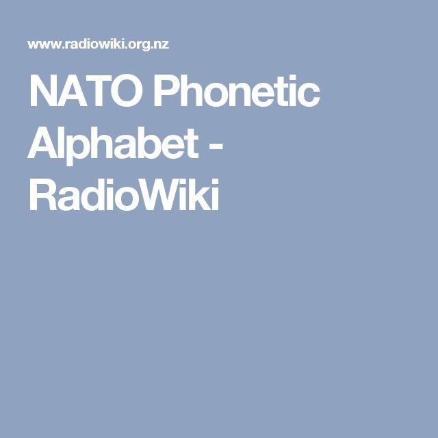 NATO Phonetic Alphabet - RadioWiki