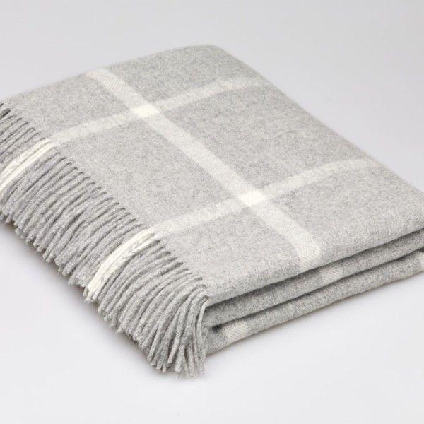 Lambswool Grey Windowpane Blanket Check Throw 140x185 Cms