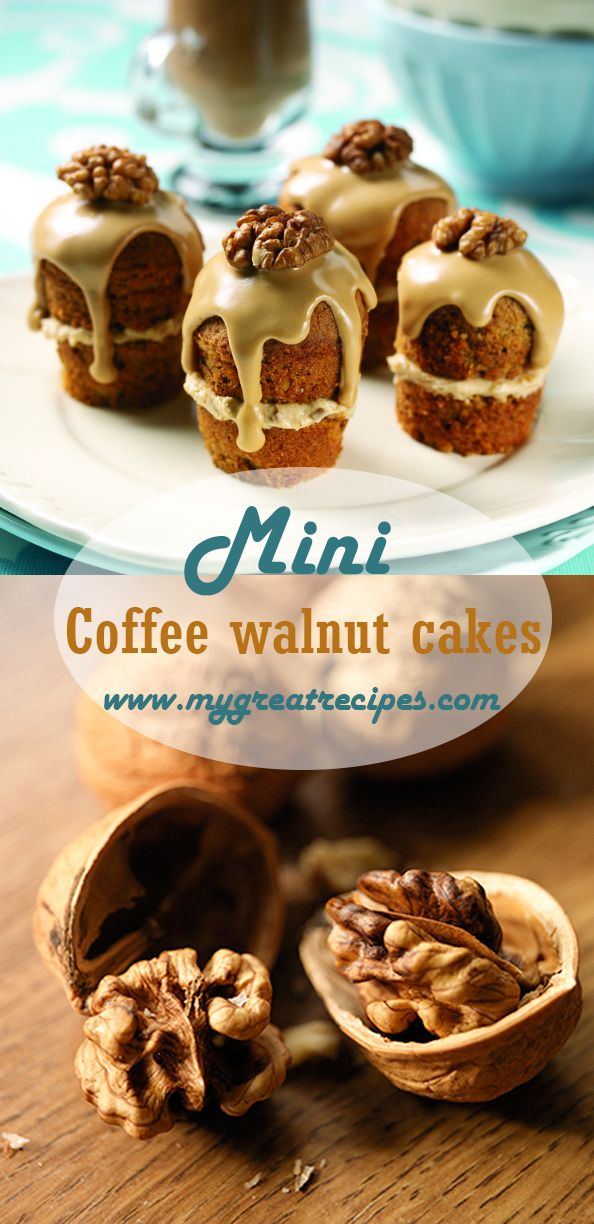 Tender little #dessert #cakes combine the superb flavors of #coffee and #walnuts for an elegant finish to a special evening's #dinner