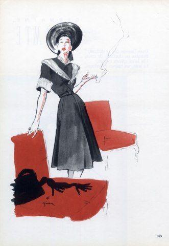 Germaine Lecomte 1946 René Gruau  $14.00 USD  Acheter  Année  1946  Illustrateur  René Gruau  Marque  Germaine Lecomte  Dimensions  ~ 22 x 30 cm