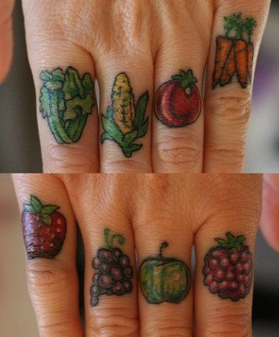 HAHA this is someones vegan tattoo. I just thought it was funny and kinda over the top.First Tattoo, Fingers Tattoo, Tattoo Artists, Funny Tattoo, Fruit Tattoo, A Tattoo, Knuckle Tattoo, Sweets Tattoo, Vegan Tattoo