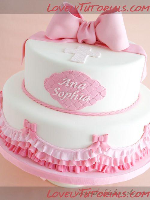 МК торт с рюшами на крестины -Pink Ombre Ruffles Baptism Cake - Мастер-классы по украшению тортов Cake Decorating Tutorials (How To's) Tortas Paso a Paso