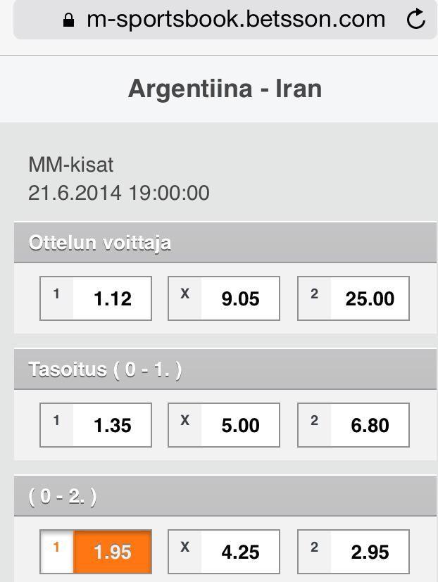 Ennakko: Argentiina v Iran  http://puoliaika.com/?p=10528 ( #aguero #Argentiina #Argentina #betsson #betsson vedonlyönti #betting #brazil 2014 #f-lohko #FIFA World Cup 2014 #group f #Higuain #iran #Kaj Kunnas #leo messi #Lionel Messi #lohko f #mm 2014 #MM-Kisat #mm-kisat brasilia #mm2014 #persia #Puoliaika #puoliaika toimitus #puoliaika.com #puoliaika.com toimitus #sports betting #vedonlyönti #World Cup #yle)