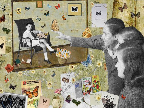 Fine Art Print / Art Poster / Collage / Butterfly / by BoWoStudio (Butterfly Lesson (Homage to Nabokov)