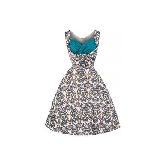 Retro šaty Lindy Bop Ophelia Victorian Floral  šaty ve stylu 50. let. nádherné šaty v krásném vzoru a zajímavě řešeným výstřihem vhodným pro větší poprsí, krásně padnou, pružný velmi příjemný, splývavý materiál, možno doplnit spodničkou, kterou najdete také v nabídce