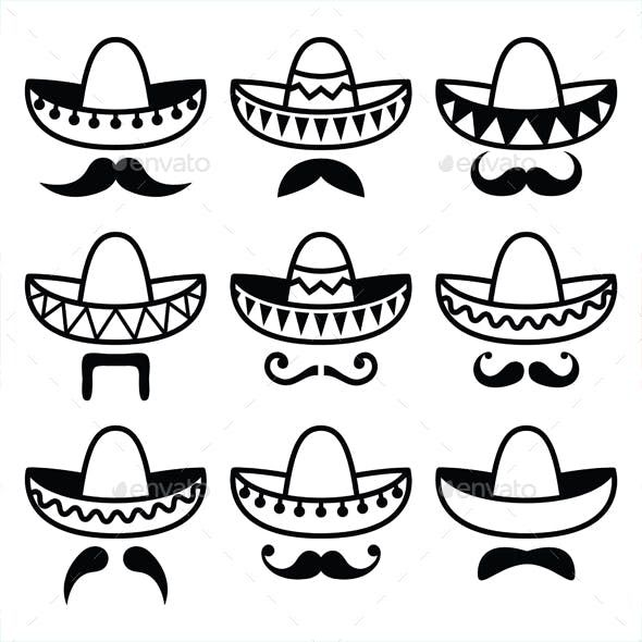 Mexican Sombrero Hat With Moustache Mexican Sombrero Hat Mexico Tattoo Mexican Tattoo