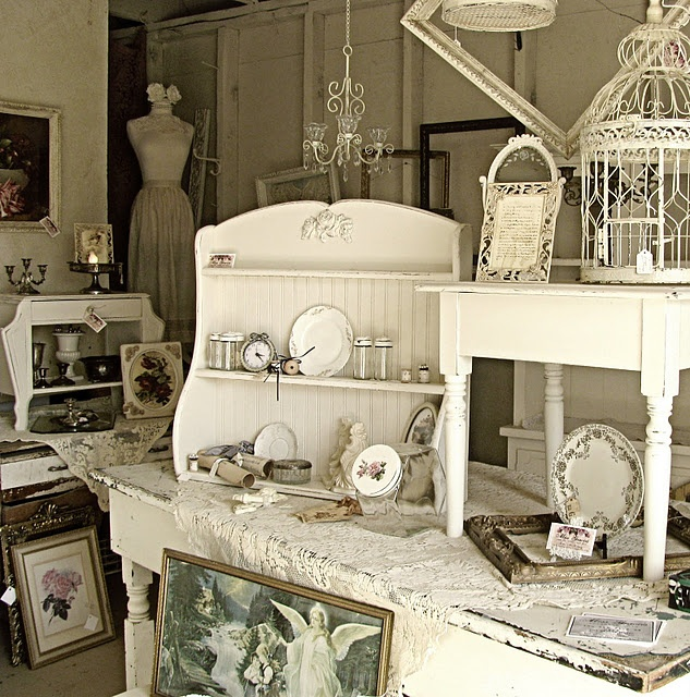 stacked tables and shelves...try to find something like the shelf...love :)